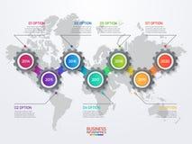 导航与齿轮和世界地图的infographic模板 免版税库存照片
