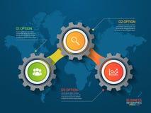 导航与齿轮和世界地图的infographic模板 库存图片