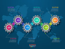 导航与齿轮和世界地图的infographic模板 免版税库存图片