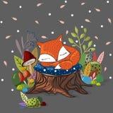 导航与滑倒小狐狸,叶子,分支的例证 免版税图库摄影