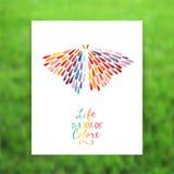 导航与蝴蝶的卡片由五颜六色的水彩雨下落制成 库存照片