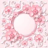 导航与3d浅粉红色的花的葡萄酒圆的框架 库存照片