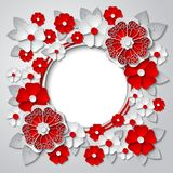 导航与3d红色和白皮书刻花的花卉圆的框架 库存图片