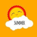 导航与ha的抽象动画片夏天背景设计观念 免版税库存图片