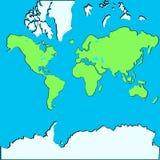 导航世界的地图在飞机的 库存照片