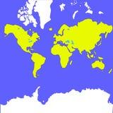 导航世界的地图在飞机的 库存图片