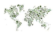 导航世界的地图由绿色叶子例证制成 绿叶生态 地球 tanical样式地图 eco有机地球 Worldmap 免版税库存照片