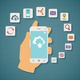 导航云彩服务的概念在手机的 免版税图库摄影