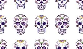 导航五颜六色的乱画糖头骨的无缝的样式 免版税库存图片