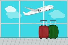 导航从机场窗口的例证视图对runwa 图库摄影