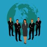 导航企业在平的样式的队概念的例证网的 免版税库存照片