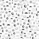 导航伊斯兰教的圣洁赖买丹月无缝的样式的例证与清真寺,月亮,灯笼, koran的 免版税图库摄影