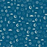 导航伊斯兰教的圣洁赖买丹月无缝的样式的例证与清真寺,月亮,灯笼, koran的 库存图片