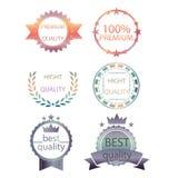 导航优质质量的汇集并且保证标签减速火箭的葡萄酒样式设计 现实100%标志集合徽章的hight 免版税库存图片