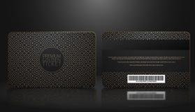 导航会员资格或忠诚黑VIP卡片模板与豪华金黄几何样式的 前面和后面设计介绍 皇族释放例证