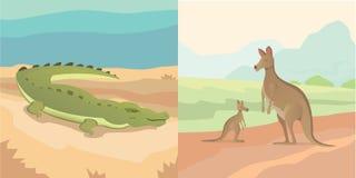 导航例证、成人袋鼠与婴孩和鳄鱼动画片样式被隔绝的澳大利亚动物 免版税库存图片