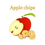 导航例证一半红色苹果和干果子 切片芯片,被烘烤的可口在白色背景 向量例证