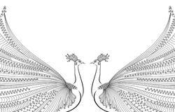 导航例证两抽象,风格化孔雀,在彼此对面,与豪华尾巴 向量例证