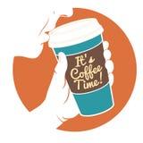 导航例证人饮用的咖啡用举行dispos的手 皇族释放例证