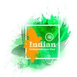 导航例证印地安人美国独立日,在时髦样式的印度旗子 8月14日水彩设计模板为 图库摄影