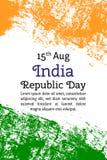 导航例证印地安人美国独立日,在时髦样式的印度旗子 8月14日水彩设计模板为 库存照片