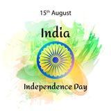 导航例证印地安人美国独立日,在时髦样式的印度旗子 8月14日水彩设计模板为 免版税库存图片
