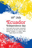 导航例证厄瓜多尔美国独立日,在时髦样式的厄瓜多尔旗子 7月10日 水彩设计模板为 图库摄影
