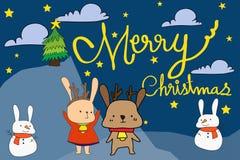 导航例证圣诞节兔子,雪兔子,手拉的玩偶 免版税库存图片