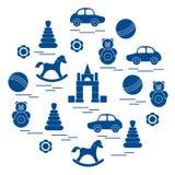 导航例证在圈子安排的孩子元素:汽车, pyr 图库摄影