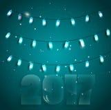 导航例证对与明亮的光的圣诞节在蓝色背景 库存照片