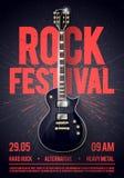 导航例证岩石节日音乐会党飞行物或posterdesign模板与吉他,地方文本的和凉快的作用在 库存例证