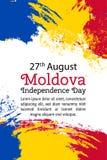 导航例证摩尔多瓦美国独立日,在时髦难看的东西样式的摩尔达维亚旗子 8月27日海报的,横幅设计模板, 库存照片