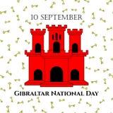 导航例证有直布罗陀-红色城堡和贿赂的视域的直布罗陀国庆节在时髦样式 9月10日desig 库存图片