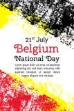 导航例证比利时国庆节,在时髦难看的东西样式的比利时旗子 7月21日海报的设计模板 库存图片