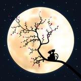 导航例证现出轮廓猫和树 免版税库存图片