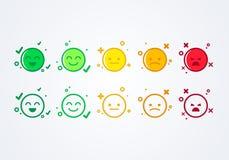 导航例证用户经验反馈概念另外心情兴高采烈的意思号emoji象正面、中性和阴性 向量例证