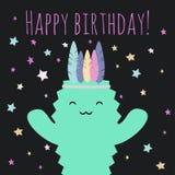 导航例证用kawaii仙人掌和词组生日快乐 向量例证