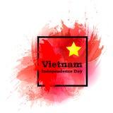 导航例证越南美国独立日,在时髦难看的东西葡萄酒样式的越南旗子 9月2日设计模板 免版税库存图片