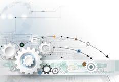 导航例证链轮、六角形和电路板、高科技数字技术和工程学 库存图片