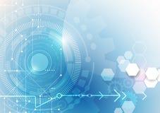 导航例证链轮、六角形和电路板 向量例证