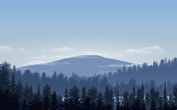 导航例证,与日落,日出,天空,云彩的风景视图 免版税库存照片