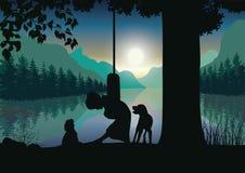 导航例证,与狗的儿童游戏在树下 图库摄影