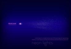 导航例证,与霓虹聚光灯,手电,光束白色火花的摘要紫色横幅 免版税库存图片