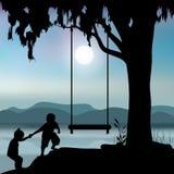 导航例证,儿童游戏在树下 免版税库存照片