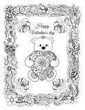 导航例证,华伦泰,与心脏的一个玩具熊在从花的一个框架 手动地做的工作  反s的书上色 免版税图库摄影