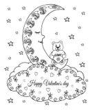 导航例证,华伦泰,与心脏的一个玩具熊坐月亮睡着在云彩 手动地做的工作  Bo 库存照片