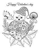 导航例证,华伦泰,偷看出于心脏的小猫包括从花 手动地做的工作  书着色 免版税图库摄影