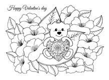 导航例证,华伦泰,迷恋与心脏的一个玩具熊坐在花中板料  在指南做的工作 免版税库存照片