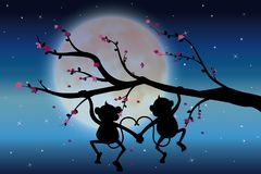 导航例证,在看月亮的树的两只猴子 库存图片