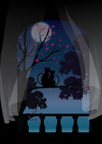 导航例证,观看美丽的月亮的猫夫妇 免版税库存照片